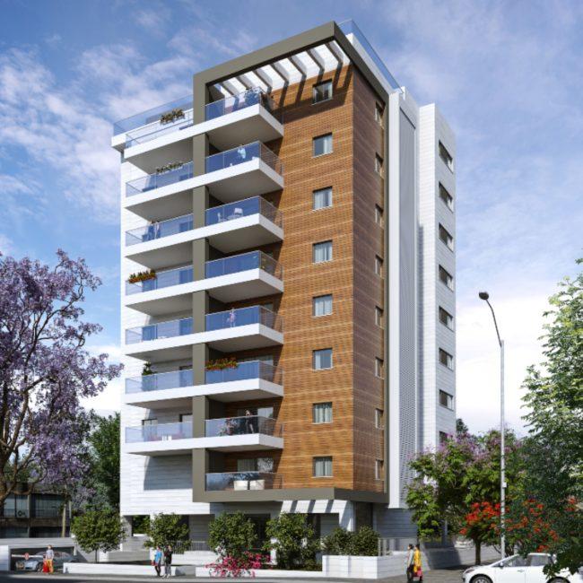 בר ביצוע קבלן בניין - פרוייקט רמבם 109 רחובות - הדמיה של בניין בוטיק חדש