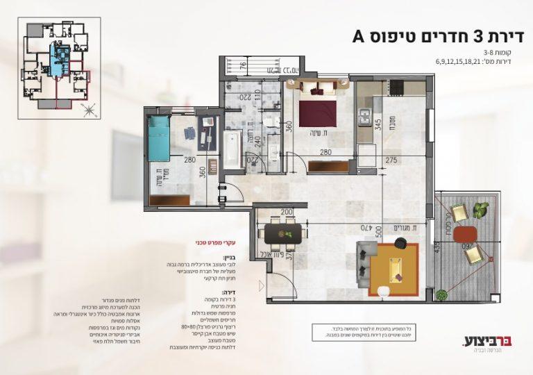 בר ביצוע קבלן בניין - דירה חדשה מקבלן ברחובות - פרוייקט רמבם 109 מפרט של דירת 3 חדרים מסוג בי