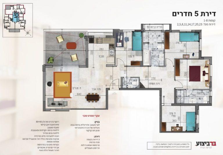 בר ביצוע קבלן בניין - דירה חדשה מקבלן ברחובות - פרוייקט רמבם 109 מפרט של דירת 5 חדרים